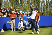 Bubba Watson of the United States plays his shot from the eighth tee during the afternoon foursome matches of the 2018 Ryder Cup at Le Golf National on September 29, 2018 in Paris, France.