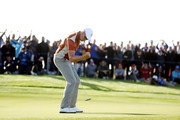 Henrik Stenson of Europe celebrates during the afternoon foursome matches of the 2018 Ryder Cup at Le Golf National on September 29, 2018 in Paris, France.