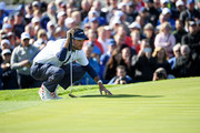 Bubba Watson of the United States lines up a putt during the afternoon foursome matches of the 2018 Ryder Cup at Le Golf National on September 29, 2018 in Paris, France.