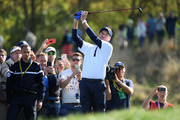 Bubba Watson of the United States plays his second shot on the 5th during the afternoon foursome matches of the 2018 Ryder Cup at Le Golf National on September 29, 2018 in Paris, France.