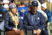 Dustin Johnson of the United States and partner Paulina Gretzky during the morning fourball matches of the 2018 Ryder Cup at Le Golf National on September 29, 2018 in Paris, France.