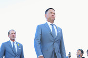 Vice-Captain Davis Love III of the United States and Vice-Captain Steve Stricker of the United States arrive during the opening ceremony for the 2018 Ryder Cup at Le Golf National on September 27, 2018 in Paris, France.