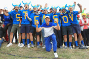 Fans of Henrik Stenson and Europe celebrate during singles matches of the 2018 Ryder Cup at Le Golf National on September 30, 2018 in Paris, France.