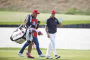 Justin Thomas of the United States and caddie Jimmy Johnson during singles matches of the 2018 Ryder Cup at Le Golf National on September 30, 2018 in Paris, France.