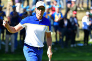 Henrik Stenson of Europe celebrates during singles matches of the 2018 Ryder Cup at Le Golf National on September 30, 2018 in Paris, France.