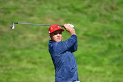 Rickie Fowler of the United States plays a shot during singles matches of the 2018 Ryder Cup at Le Golf National on September 30, 2018 in Paris, France.