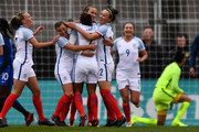Jill Scott #8 of England celebrates her first half goal against France with teammates on March 1, 2018 at MAPFRE Stadium in Columbus, Ohio.