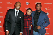 """(L-R)  Actors Dijon Talton, and Brytni Sarpy and screenwriter Qasim Basir attend the """"A Boy, A Girl, A Dream"""" Premiere during the 2018 Sundance Film Festival at Park City Library on January 22, 2018 in Park City, Utah."""