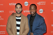 """Actor Dijon Talton (L) and screenwriter Qasim Basir attend the """"A Boy, A Girl, A Dream"""" Premiere during the 2018 Sundance Film Festival at Park City Library on January 22, 2018 in Park City, Utah."""