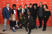 """(Top L-R) Actors Giuseppe Ardizzone, Casssandra Freeman, Kelvin Harrison Jr., Jasmine Cephas Jones, Anthony Ramos, and Chanté Adams and director Reinaldo Marcus Green and actors Nicole Beharie (Bottom L-R) Cara Buono, Rob Morgan and John David Washington attend the """"Of Monsters and Men"""" Premiere during the 2018 Sundance Film Festival at Eccles Center Theatre on January 19, 2018 in Park City, Utah."""