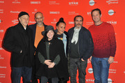 "(L-R) Jonathan Ames, Jim Wilson Lynne Ramsay, Rosa Attab, Joaquin Phoenix, and Trevor Groth attend the ""You Were Never Really Here"" Premiere during the 2018 Sundance Film Festival at The Marc Theatre on January 21, 2018 in Park City, Utah."
