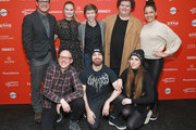 """(L-R Back) Actors Rich Sommer, Tiera Skovbye, Graham Verchere, Susie Castillo, Caleb Emery, (L-R Front) Directors Yoann-Karl Whissell, Francois Simard, and Anouk Whissell attend the """"Summer Of '84"""" Premiere during the 2018 Sundance Film Festival at Park City Library on January 22, 2018 in Park City, Utah."""