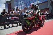 Tom Sykes of Great Britain and KAWASAKI RACING TEAM WorldSBK celebrates the third place at the end of the Superbike race 2 during 2018 Superbikes Italian Round on May 13, 2018 in Imola, Italy.
