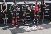 (L-R) Tom Sykes of Great Britain and KAWASAKI RACING TEAM WorldSBK, Jonathan Rea of Great Britain and KAWASAKI RACING TEAM WorldSBK and Chaz Davies of Great Britain and ARUBA.IT RACING-DUCATI. celebrates  at the end of the super pole  during the WorldSBK Race 1 during the 2018 Superbikes Italian Round  on May 12, 2018 in Imola, Italy.