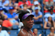 Venus Williams of the United States returns a shot during her women's singles first round match against Svetlana Kuznetsova of Russia on Day One of the 2018 US Open at the USTA Billie Jean King National Tennis Center on August 27, 2018 in the Flushing neighborhood of the Queens borough of New York City.