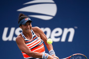 Heather Watson of Great Britain returns the ball in her women's singles first round match against Ekaterina Makarova of Russia on Day One of the 2018 US Open at the USTA Billie Jean King National Tennis Center on August 27, 2017 in the Flushing neighborhood of the Queens borough of New York City.