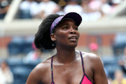 Venus Williams of the United States reacts during her women's singles first round match against Svetlana Kuznetsova of Russia on Day One of the 2018 US Open at the USTA Billie Jean King National Tennis Center on August 27, 2017 in the Flushing neighborhood of the Queens borough of New York City.
