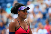 Venus Williams of the United States reacts during her women's singles first round match against Svetlana Kuznetsova of Russia on Day One of the 2018 US Open at the USTA Billie Jean King National Tennis Center on August 27, 2018 in the Flushing neighborhood of the Queens borough of New York City.