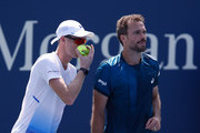 Jamie Murray of Great Britain speaks with Bruno Soares of Brazil during their men's doubles quarter-final match against Malek Jaziri of Tunisia and Radu Albot of Moldova on Day Ten of the 2018 US Open at the USTA Billie Jean King National Tennis Center on September 5, 2018 in the Flushing neighborhood of the Queens borough of New York City.