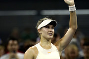 Eugenie Bouchard of Canada celebrates her win in the women's singles first round match against Harmony Tan of France on Day Two of the 2018 US Open at the USTA Billie Jean King National Tennis Center on August 28, 2018 in the Flushing neighborhood of the Queens borough of New York City.