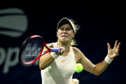 Eugenie Bouchard of Canada returns the ball during the women's singles first round match against Harmony Tan of France on Day Two of the 2018 US Open at the USTA Billie Jean King National Tennis Center on August 28, 2018 in the Flushing neighborhood of the Queens borough of New York City.