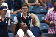 Venus Williams of the United States attempts to cool off during her women's singles second round match against Camila Giorgi of Italy on Day Three of the 2018 US Open at the USTA Billie Jean King National Tennis Center on August 29, 2018 in the Flushing neighborhood of the Queens borough of New York City.