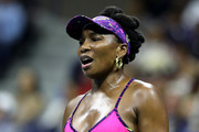 Venus Williams of the United States reacts during her women's singles third round match against Serena Williams of the United States on Day Five of the 2018 US Open at the USTA Billie Jean King National Tennis Center on August 31, 2018 in the Flushing neighborhood of the Queens borough of New York City.