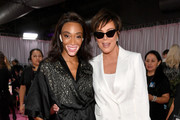 Winnie Harlow and Kris Jenner pose backstage during the 2018 Victoria's Secret Fashion Show at Pier 94 on November 8, 2018 in New York City.