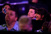 Davina McCall takes a Selfie photograph during the 2018 William Hill PDC World Darts Championships on Day Thirteen at Alexandra Palace on December 29, 2017 in London, England.