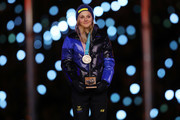 Bronze medalist Stina Nilsson of Sweden poses during the medal ceremony for the Cross-Country Skiing - Ladies' 30km Mass Start Classic during the Closing Ceremony of the PyeongChang 2018 Winter Olympic Games at PyeongChang Olympic Stadium on February 25, 2018 in Pyeongchang-gun, South Korea.