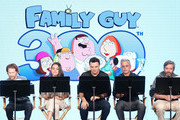 (L-R) Actors Seth Green and Mila Kunis, creator/executive producer Seth MacFarlane, executve producer/showrunner Rich Appel and executive producer/showrunner Alec Sulkin of the television show Family Guy perform a live read onstage during the FOX portion of the 2018 Winter Television Critics Association Press Tour at The Langham Huntington, Pasadena on January 4, 2018 in Pasadena, California.