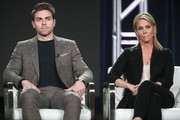 Actors Colt Prattes (L) and Cheryl Hines of 'This Close' speak onstage during the AMC Networks portion of the 2018 Winter Television Critics Association Press Tour at The Langham Huntington, Pasadena on January 13, 2018 in Pasadena, California.