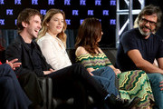(L-R) Actors Dan Stevens, Rachel Keller, Aubrey Plaza and Jemaine Clement speak onstage during the FOX/FX portion of the 2018 Winter Television Critics Association Press Tour at The Langham Huntington, Pasadena on January 5, 2018 in Pasadena, California.