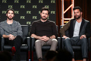 (L-R) Actors Darren Criss, Edgar Ramirez and Ricky Martin of the television show The Assassination of Gianni Versace speak onstage during the FOX/FX Networks portion of the 2018 Winter Television Critics Association Press Tour at The Langham Huntington, Pasadena on January 5, 2018 in Pasadena, California.