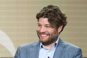 Actor Jay R. Ferguson of the television show Living Biblically speaks onstage during the CBS/Showtime portion of the 2018 Winter Television Critics Association Press Tour at The Langham Huntington, Pasadena on January 6, 2018 in Pasadena, California.