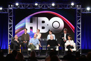 (L-R, Back Row) Actors Jeremy Strong, Sarah Snook, Kieran Culkin, Alan Ruck, (l-r, front row) executive producer/director of pilot Adam McKay, creator/executive producer/showrunner Jesse Armstrong, actors Brian Cox and Hiam Abbass of the television show Succession speak onstage during the HBO portion of the 2018 Winter Television Critics Association Press Tour at The Langham Huntington, Pasadena on January 11, 2018 in Pasadena, California.