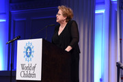 Caryl Stern speaks on stage at the 2018 World of Children Awards Ceremony and Benefit on November 1, 2018 in New York City.