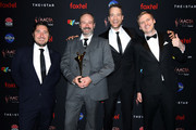 Eoin Maher, David McDonald, Hamish Blake (2nd R)  and AJ Johnson with the AACTA Award for Best Entertainment Program in the media room during 2019 AACTA Awards Presented by Foxtel at The Star on December 04, 2019 in Sydney, Australia.