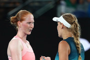 Caroline Wozniacki of Denmark shakes hands with Alison Van Uytvanck of Belgium following victory in the first round during day one of the 2019 Australian Open at Melbourne Park on January 14, 2019 in Melbourne, Australia.