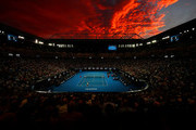 Sunset as Naomi Osaka of Japan competes in her Women's Singles Final match against Petra Kvitova of the Czech Republic during day 13 of the 2019 Australian Open at Melbourne Park on January 26, 2019 in Melbourne, Australia.