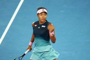 Naomi Osaka of Japan celebrates in her Women's Singles Final match against Petra Kvitova of the Czech Republic during day 13 of the 2019 Australian Open at Melbourne Park on January 26, 2019 in Melbourne, Australia.