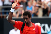 Gael Monfils of France acknowledges the crowd as he walks off court after defeat in his second round match against Taylor Fritz of the United States during day three of the 2019 Australian Open at Melbourne Park on January 16, 2019 in Melbourne, Australia.