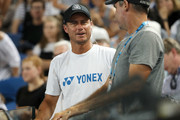 Lleyton Hewitt watches the second round match between Henri Laaksonen of Switzerland and Alex De Minaur of Australia during day three of the 2019 Australian Open at Melbourne Park on January 16, 2019 in Melbourne, Australia.