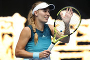 Caroline Wozniacki of Denmark celebrates winning her second round match against Johanna Larsson of Sweden during day three of the 2019 Australian Open at Melbourne Park on January 16, 2019 in Melbourne, Australia.