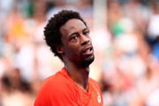 Gael Monfils of France reacts in his second round match against Taylor Fritz of the United States during day three of the 2019 Australian Open at Melbourne Park on January 16, 2019 in Melbourne, Australia.