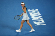 Caroline Wozniacki of Denmark celebrates in her third round match against Maria Sharapova of Russia during day five of the 2019 Australian Open at Melbourne Park on January 18, 2019 in Melbourne, Australia.