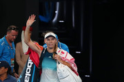 Caroline Wozniacki of Denmark walks off court after losing in her third round match against Maria Sharapova of Russia during day five of the 2019 Australian Open at Melbourne Park on January 18, 2019 in Melbourne, Australia.