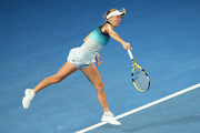 Caroline Wozniacki of Denmark serves in her third round match against Maria Sharapova of Russia during day five of the 2019 Australian Open at Melbourne Park on January 18, 2019 in Melbourne, Australia.