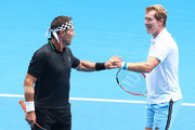 Pat Cash and Mark Woodforde of Australia compete in their Legends Doubles match against Wayne Ferreira of South Africa and Goran Ivanisevic of Croatia during day seven of the 2019 Australian Open at Melbourne Park on January 20, 2019 in Melbourne, Australia.