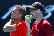 Bruno Soares of Brazil and Jamie Murray of Great Britain talk tactics in their Men's Double match against Kevin Krawietz of Germany and Nikola Mektic of Croatia during day eight of the 2019 Australian Open at Melbourne Park on January 21, 2019 in Melbourne, Australia.